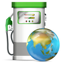 petrol pump station with globe vector image