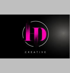 Pink hd brush stroke letter logo design pink vector