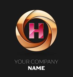 pink letter h logo symbol in golden circle shape vector image