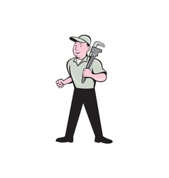 Plumber holding monkey wrench front view cartoon vector