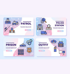 Police color linear icons set vector