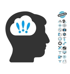 Problem brainstorm icon with copter tools bonus vector