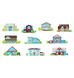 real estate private buildings icons set vector image