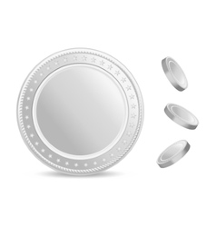 Realistic silver coins set Blank coin with vector image