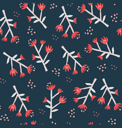 Red wildflowers flat seamless pattern vector