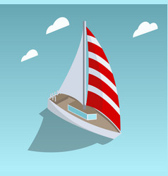 Sailing yacht isometric style vector