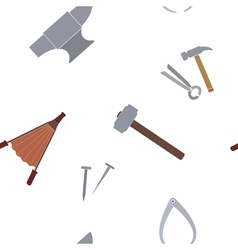 Seamless pattern with blacksmith tools vector