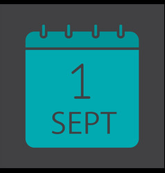 September 1st date glyph color icon vector