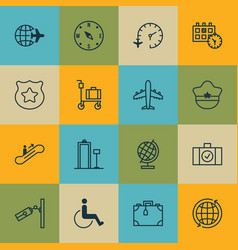 Set of 16 travel icons includes world travel vector