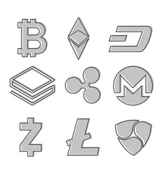 set of cryptocurrency icons line design in grey vector image