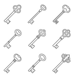 Set of nine keys silhouettes vector image
