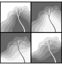 Set of with stylized tree vector image