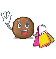 Shopping meatball character cartoon style vector