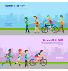 summer sport web banner in flat design vector image