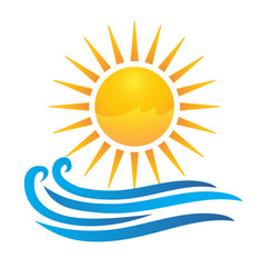 sun and waves logo vector image