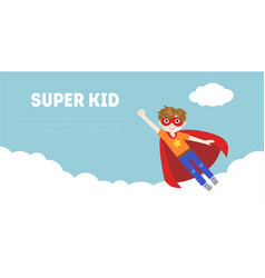 Super kid banner cute boy in superhero costume vector