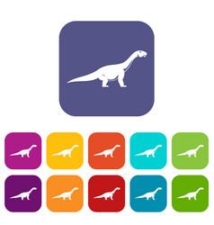 titanosaurus dinosaur icons set flat vector image