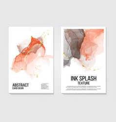 trendy watercolor ink background in coral gold vector image