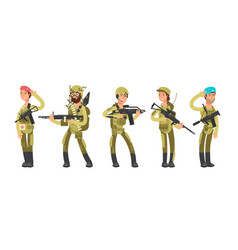 Us army cartoon man and woman soldiers in uniform vector