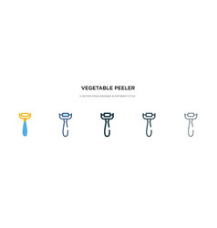 Vegetable peeler icon in different style two vector