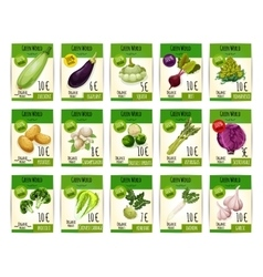 Vegetables price cards or tags set vector image