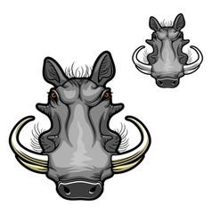 Warthog boar head mascot african wild pig icon vector