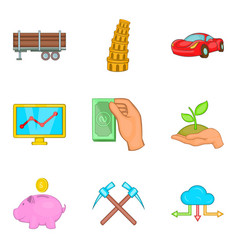 Wealthy icons set cartoon style vector