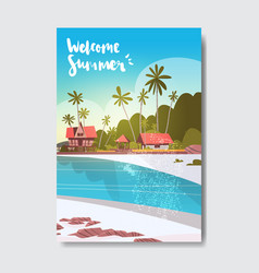Welcome summer house hotel palm tree sunrise beach vector