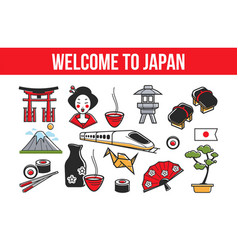 Welcome to japan promo banner with national vector