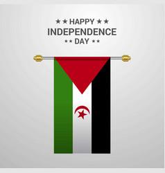 Western sahara independence day hanging flag vector