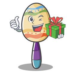 With gift maracas character cartoon style vector
