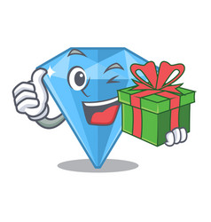 With gift sapphire gem in a mascot box vector