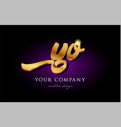 Yo y o 3d gold golden alphabet letter metal logo vector