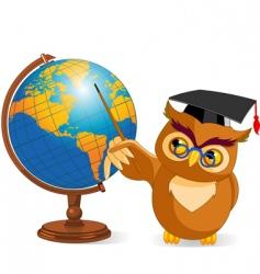 cartoon wise owl with world globe vector image