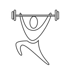 contour pictogram man weightlifting icon vector image vector image