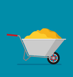 flat gardening wheelbarrow vector image