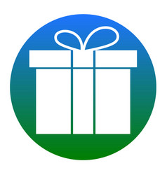 gift box sign white icon in bluish circle vector image
