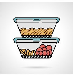 Lunch box flat color icon vector image vector image