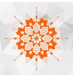 Mandala in orange color on gray triangles mesh vector image