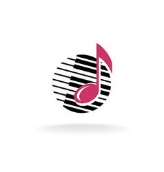 Note with piano keys logo vector image