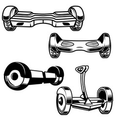 Self-balancing electric scooter icons isolated on vector
