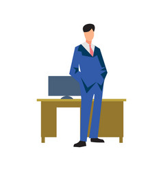 young businessman near table in flat design vector image vector image