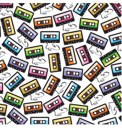 background pattern with audio cassette tape vector image vector image