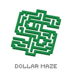 Dollar business isometric green maze vector image vector image