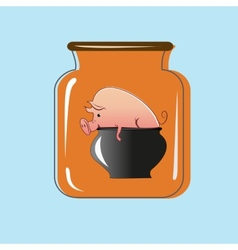 Glass jar with canning pork design vector image vector image