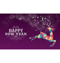 Happy new year 2016 reindeer color triangle vector image vector image