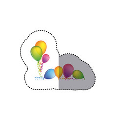 sticker set flying balloons with serpentine on the vector image