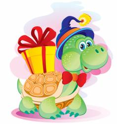 turtle with a gift vector image vector image