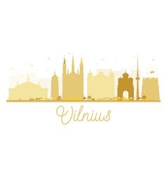 Vilnius City skyline golden silhouette vector image