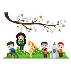 Children playing under a tree branch vector image vector image